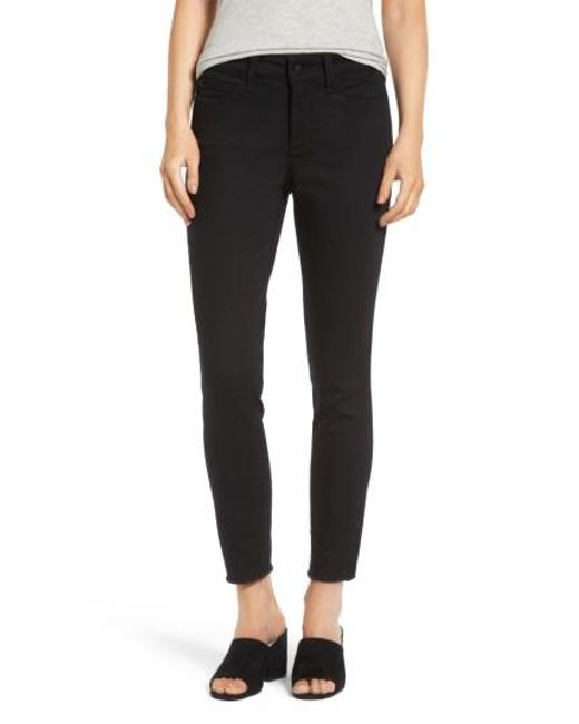 NYDJ | Black Alina Frayed Stretch Twill Ankle Pants | Lyst