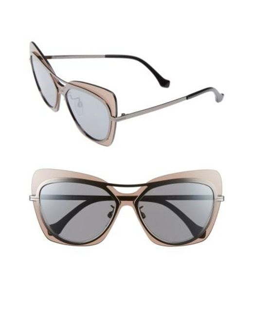 Balenciaga | Metallic 57mm Layered Butterfly Sunglasses - Gunmetal/ Black/ Silver/ Brown | Lyst