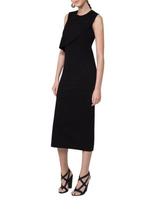 Akris Punto | Black Ruffle Jersey Midi Dress | Lyst