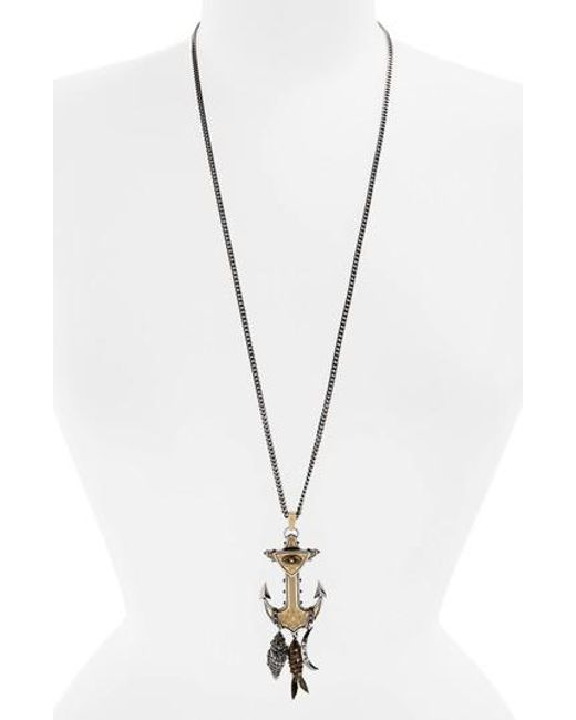 Alexander McQueen | Metallic Anchor Pendant Necklace | Lyst