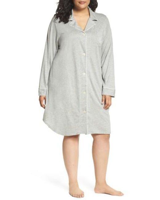 Lauren by Ralph Lauren | Gray Knit Nightshirt | Lyst
