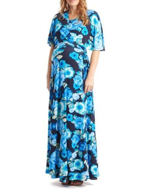 Everly Grey | Blue Asa Maternity/nursing Maxi Wrap Dress | Lyst
