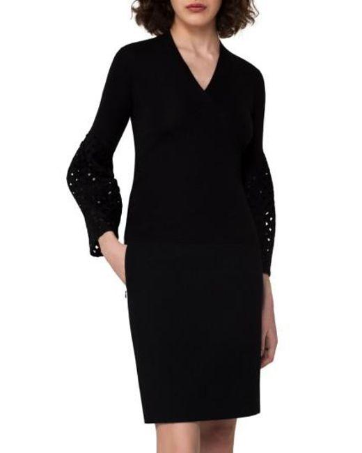 Akris   Black Lace Sleeve Cashmere & Silk Sweater   Lyst