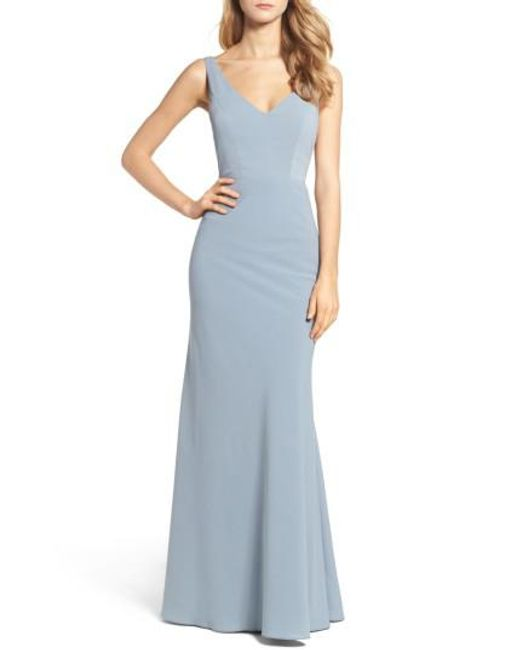 Jenny Yoo | Blue Delaney Tie Back V-neck Gown | Lyst