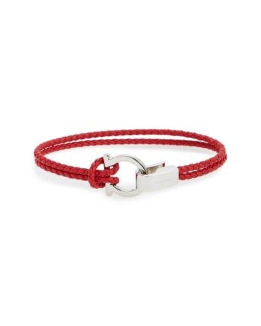 Ferragamo | Red Double Braided Gancini Leather Bracelet | Lyst