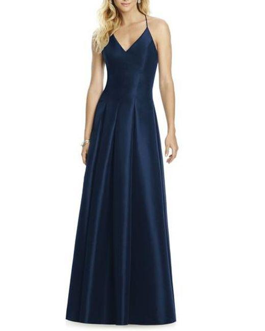 After Six | Blue Cross Back Taffeta A-line Gown | Lyst