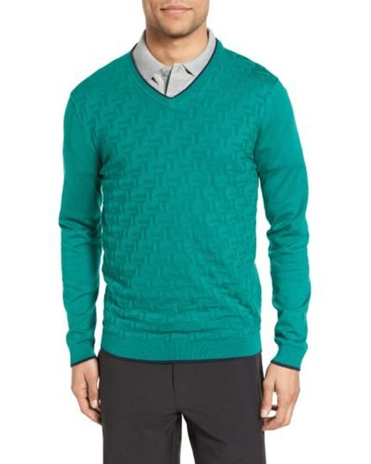 Ted Baker | Green Armstro Tipped Golf Tee Sweater for Men | Lyst