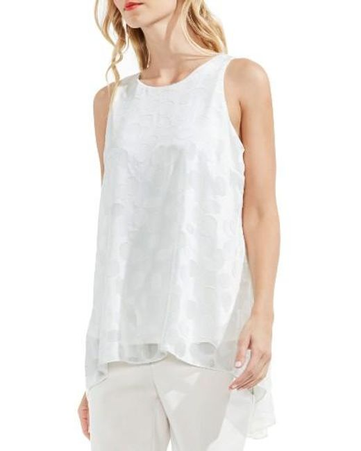 Vince Camuto   White Sheer Dot Clipped Jacquard Blouse   Lyst