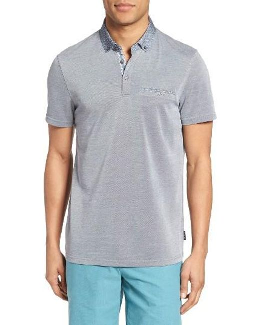 Ted Baker | Blue Woven Collar Polo for Men | Lyst