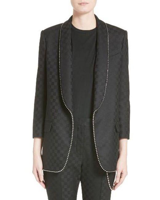 Alexander Wang | Gray Chain Trim Checkerboard Wool Blazer | Lyst