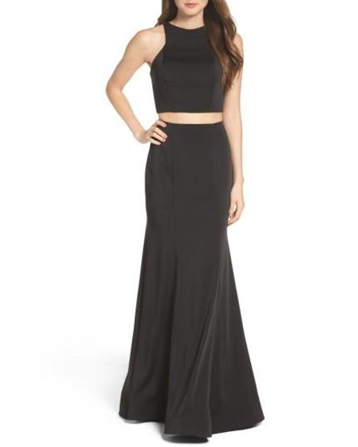 La Femme | Black Two-piece Gown | Lyst