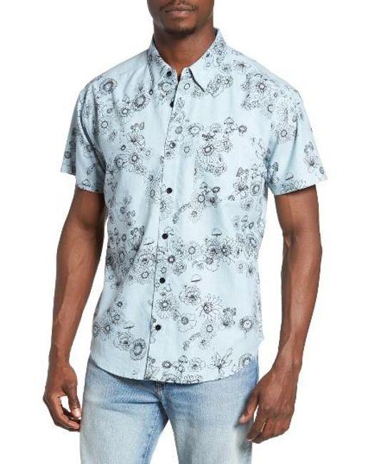 RVCA   Blue Print Woven Shirt for Men   Lyst