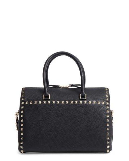 Valentino   Black Rockstud Leather Duffel Bag   Lyst