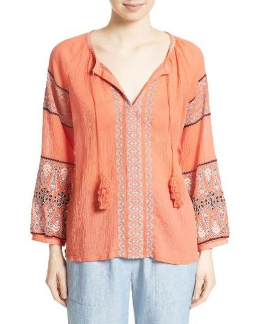 Joie | Orange Nelida Embroidered Cotton Blouse | Lyst