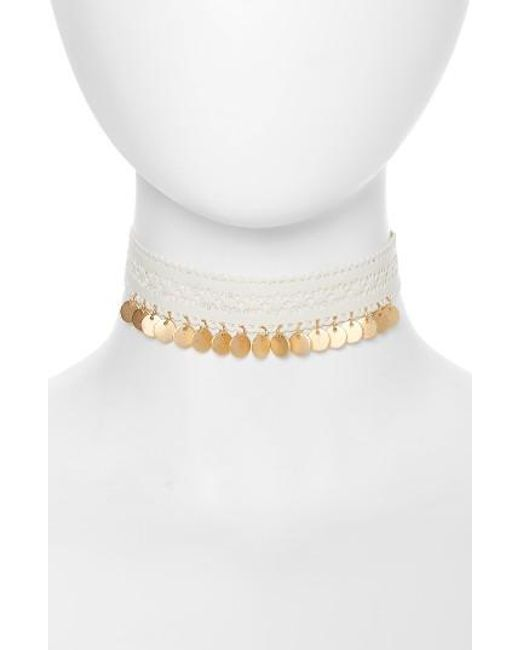 TOPSHOP | White Cutout & Disc Leather Choker | Lyst