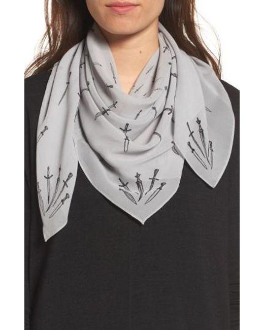 Rag & Bone | Gray Dagger Print Silk Scarf | Lyst