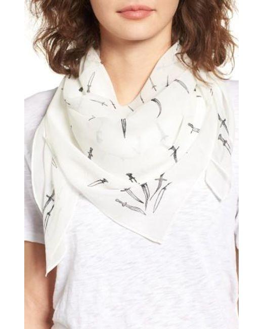 Rag & Bone | White Dagger Print Silk Scarf | Lyst