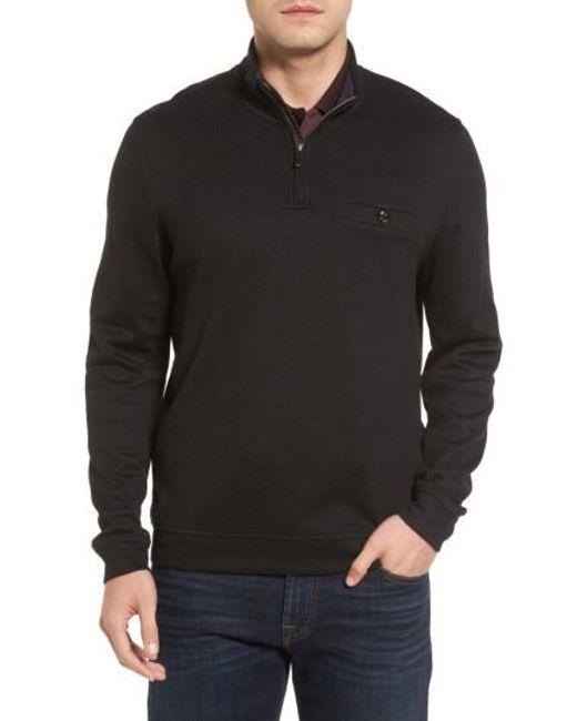 Ted Baker | Black Valerio Quarter Zip Pullover for Men | Lyst