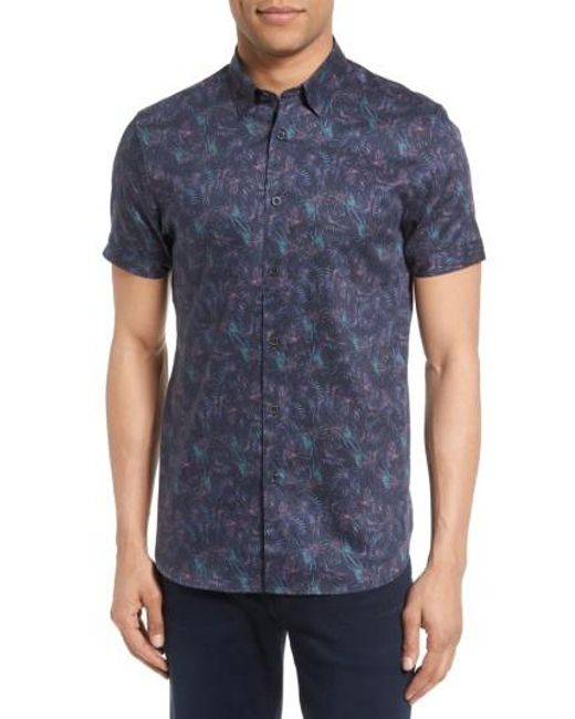 Ted Baker | Blue Saraf Modern Slim Fit Print Sport Shirt for Men | Lyst