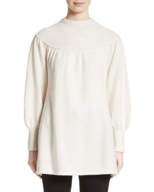 Co. Rib Knit Cashmere Tunic Sweater in White | Lyst