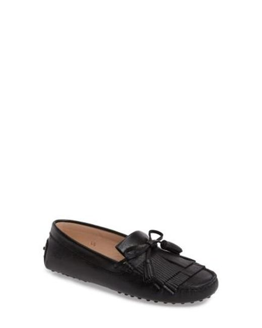 Tod's | Black Gommino Tasseled Kiltie Driving Shoe | Lyst