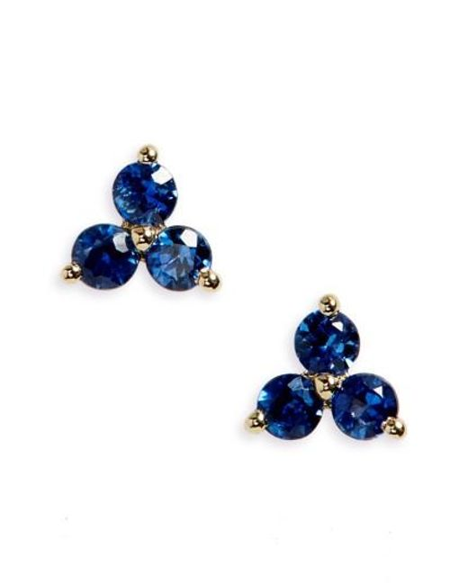 EF Collection   Blue Trio Precious Stone Stud Earrings   Lyst