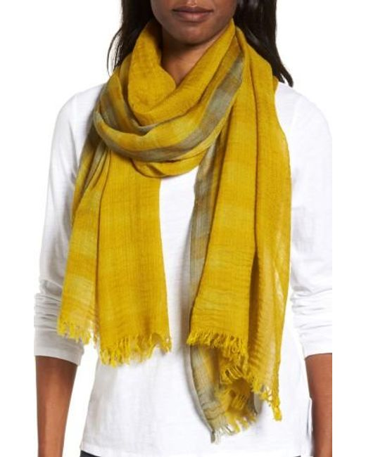 Eileen Fisher   Yellow Plaid Wool Scarf   Lyst
