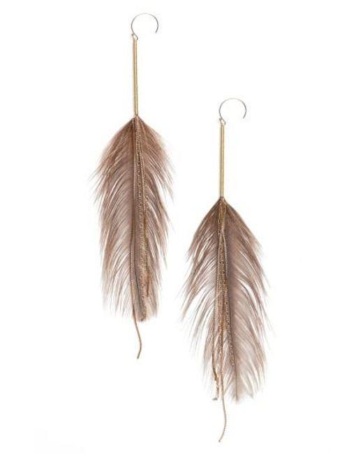 Serefina | Metallic Rhea Feather Drop Earrings | Lyst