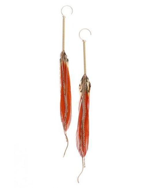 Serefina   Red Feather Drop Earrings   Lyst
