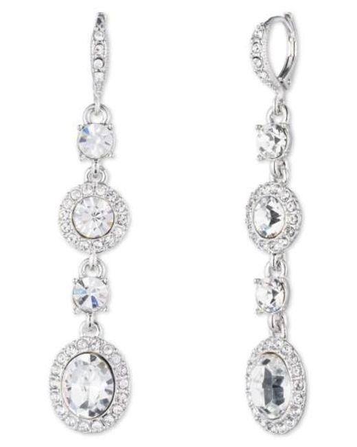 Givenchy | Metallic Crystal Linear Drop Earrings | Lyst