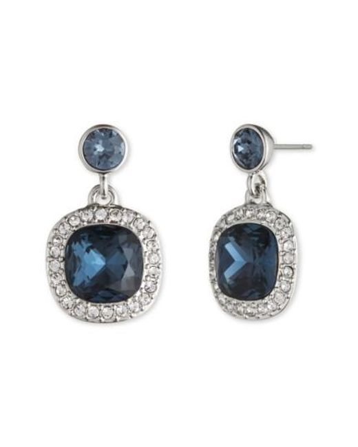 Givenchy | Blue Crystal Drop Earrings | Lyst
