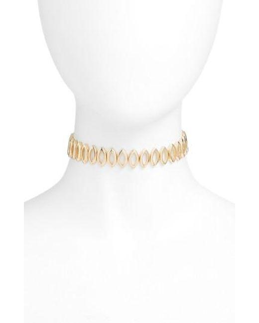Rebecca Minkoff   Metallic Navette Choker Necklace   Lyst