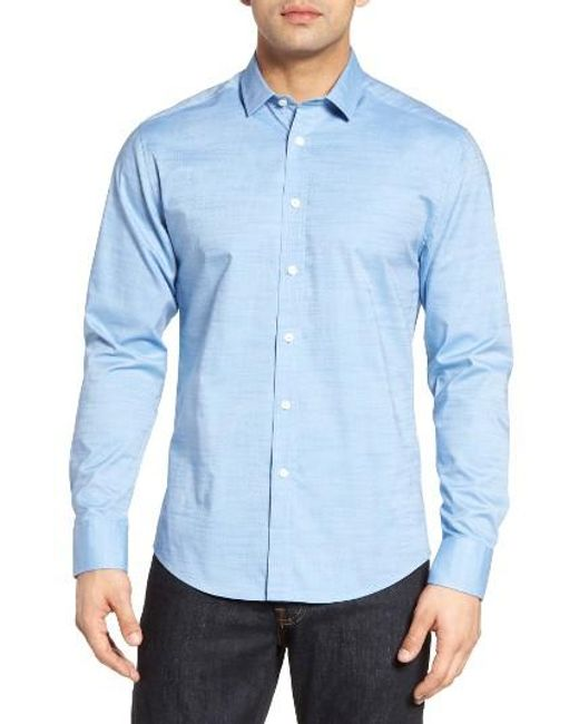 Vince Camuto | Blue Trim Fit Dobby Dot Sport Shirt for Men | Lyst
