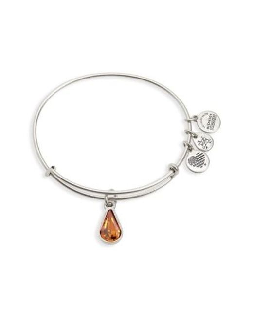 ALEX AND ANI | Metallic Birthstone Adjustable Wire Bangle | Lyst