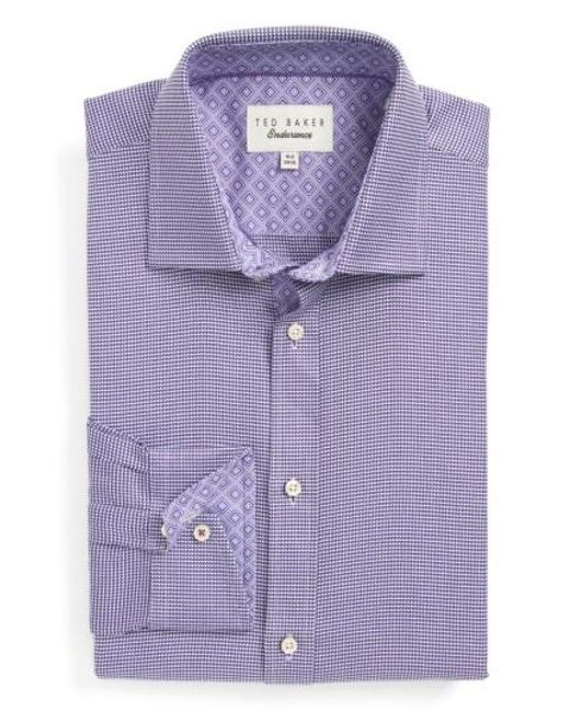 Ted Baker | Purple Chimy Trim Fit Geometric Dress Shirt for Men | Lyst