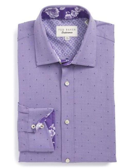 Ted Baker   Purple Trim Fit Dot Dress Shirt for Men   Lyst