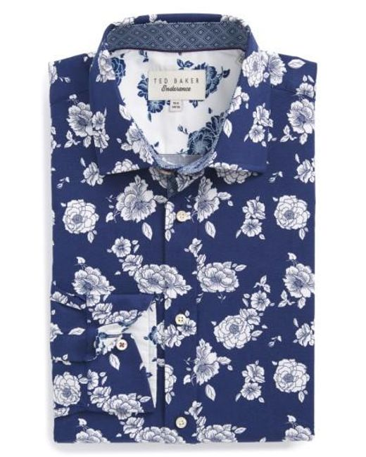 Ted Baker | Blue Trim Fit Floral Dress Shirt for Men | Lyst