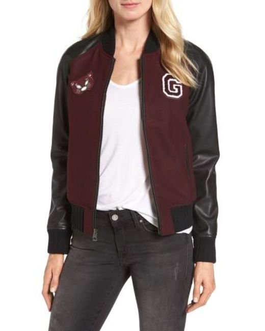 Guess | Brown Patch Detail Mixed Media Bomber Jacket | Lyst