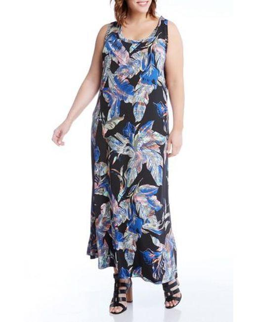 Karen Kane | Blue Leaf Print Jersey Maxi Tank Dress | Lyst