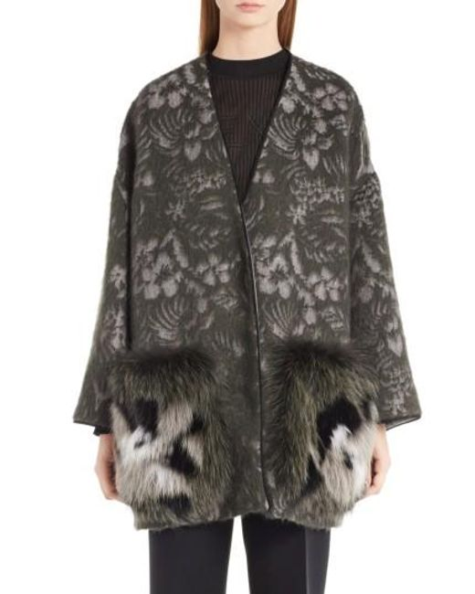 Fendi | Black Floral Jacket With Genuine Fox Fur Pockets | Lyst