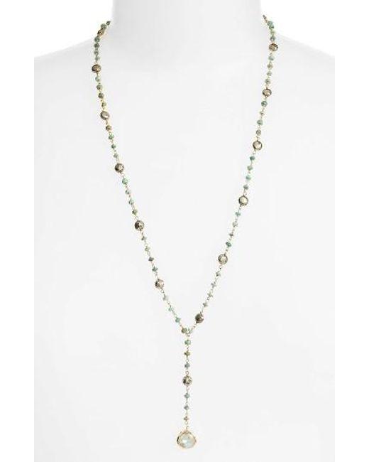 Ela Rae | Metallic Yaeli Satellite 24 Semiprecious Stone Y-necklace | Lyst