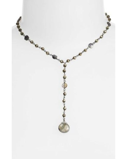 Ela Rae | Metallic Yaeli Midi Satellite Semiprecious Stone Y-necklace | Lyst