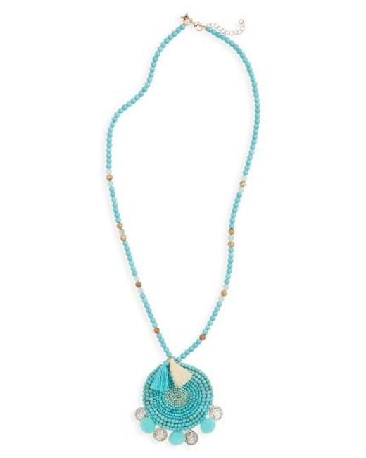 Panacea | Multicolor Howlite Medallion Pompom Necklace | Lyst