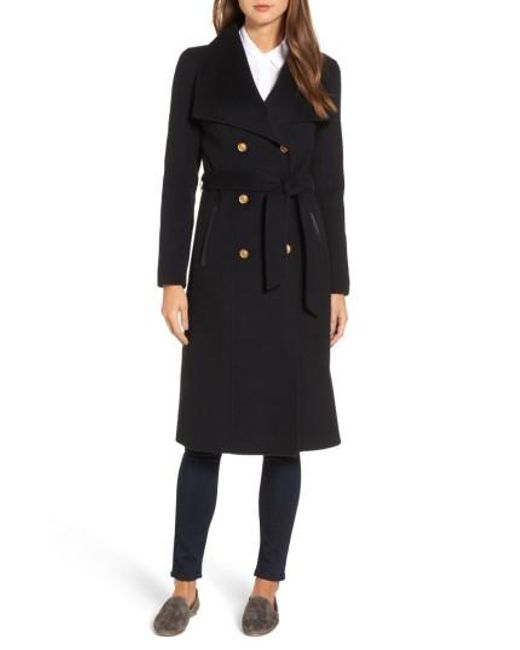 Mackage | Black Double Breasted Wool Blend Long Military Coat | Lyst