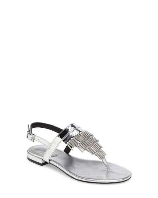 Calvin Klein | Metallic Evonie Metal-fringed V-strap Sandal | Lyst