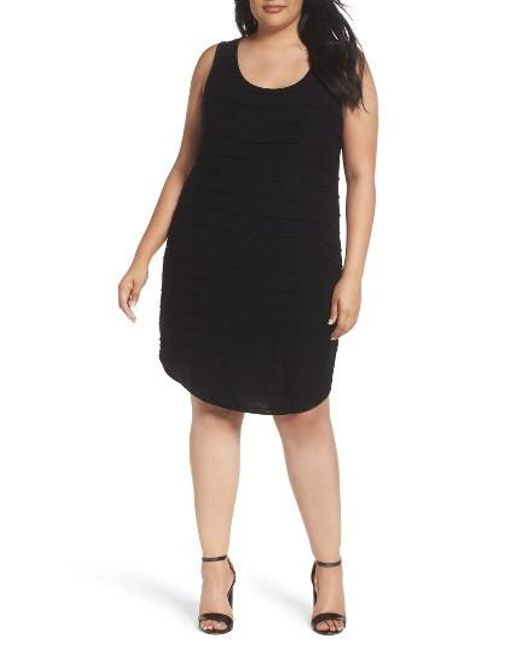 Three Dots | Black Pintuck Jersey Tank Dress | Lyst