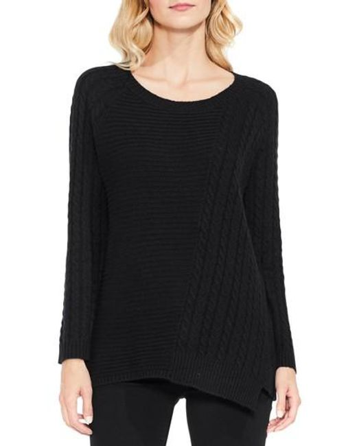 Two By Vince Camuto | Black Mixed Stitch Sweater | Lyst