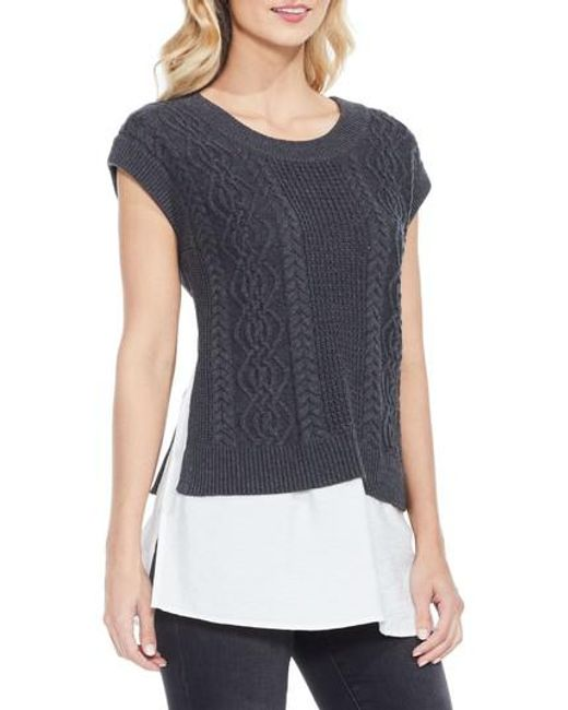 Two By Vince Camuto | Blue Layered Look Cable Sweater | Lyst