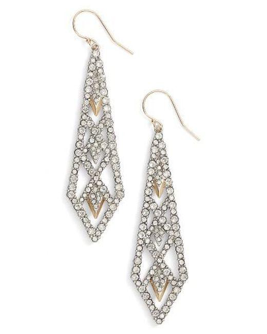 Alexis Bittar | Metallic Crystal Encrusted Drop Earrings | Lyst