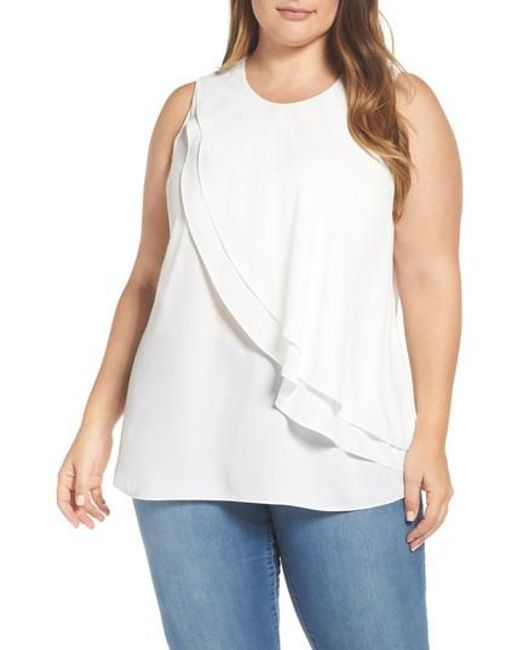 Vince Camuto   White Tiered Ruffle Front Blouse   Lyst